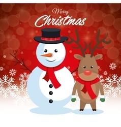 postcard merry christmas snowman and reindeer vector image vector image