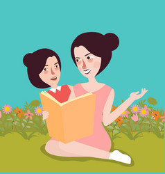 Reading book at garden mom and her kids outdoor vector