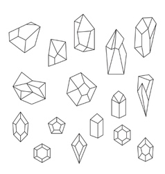 set of crystals and gemstone vector image
