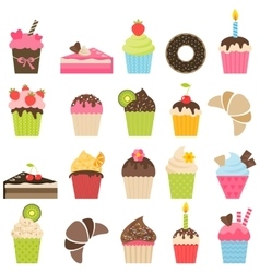 set of cupcakes and pieces of cake vector image vector image