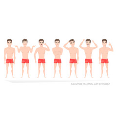 Set of emotions and gestures to the young man vector