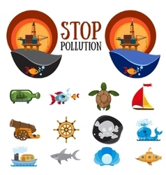 Set of figures on environmental protection vector