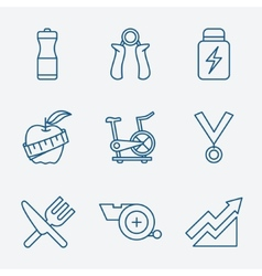 Set of Outline stroke Fitness icons vector image vector image