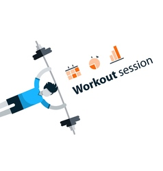 Sport gym workout session banner with icons vector image vector image