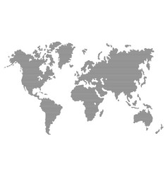 Striped gray world map on white background vector