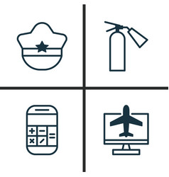 Transportation icons set collection of pilot hat vector