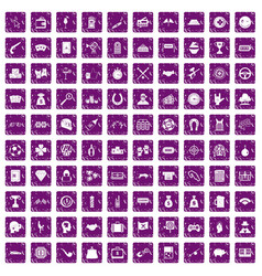 100 gambling icons set grunge purple vector