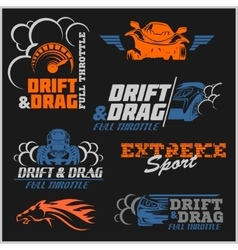 Drift drag racing tuning motor sport - set of vector