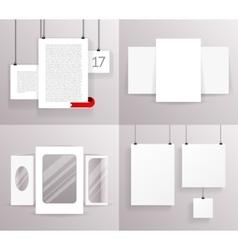 Mock up set frames boxes paper big little vector