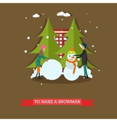 Boy and girl making snowman vector