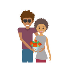 Afroamerican couple romantic image vector