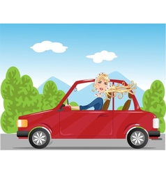Girl in read auto vector image