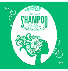 Shampoo women label vector