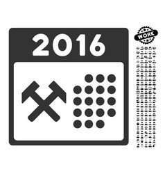 2016 working days icon with work bonus vector
