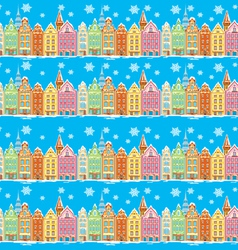 Vintage buildings seamless with snowfall vector image