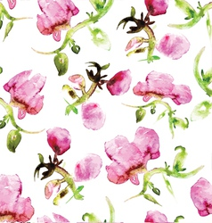 Watercolor seamless flower pattern vector