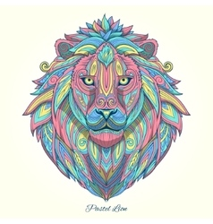 Lion pastel color ornament ethnic vector