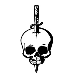 Skull with dagger vector