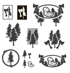 Logo or emblem with trees or forest ranger vector