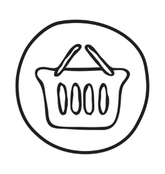 Doodle shopping basket icon vector