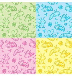 hand drawn patterns with insects vector image