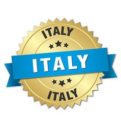 Italy round golden badge with blue ribbon vector