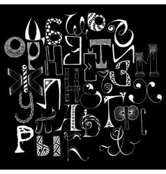 Handdrawn russian doodle alphabet random letters vector