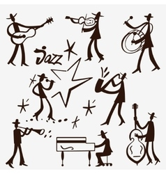 musicians icons set vector image