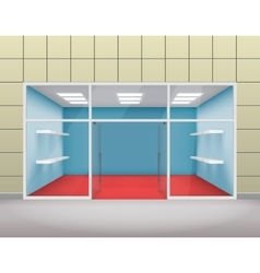 Empty shop front boutique window and open door 3d vector image