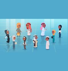 arab children girls and boys set small cartoon vector image vector image