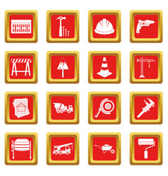 Architecture icons set red vector