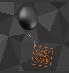 Black balloon on black polygonal background with vector