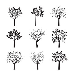 Collection of black trees vector