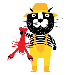 Cool cartoon cat like fisherman holding lobster vector