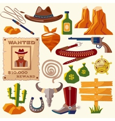 Cowboy icons flat vector image vector image
