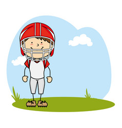 Cute boy avatar character football player vector