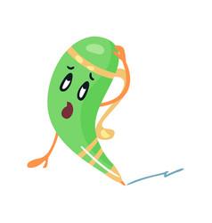 Cute cartoon puzzled humanized green pencil vector