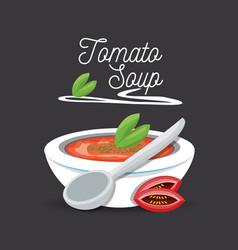 Delicious tomato soup menu restaurant vector