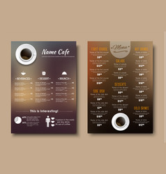 design menus for a restaurant cafe or coffeehouse vector image vector image
