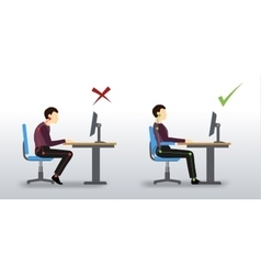 ergonomic Wrong and correct sitting posture vector image vector image