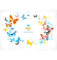 Frame with beautiful butterflies vector image vector image