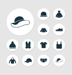 Garment icons set collection of elegant headgear vector