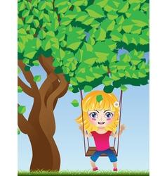 Girl on swing2 vector