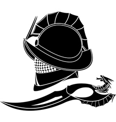 Gladiators helmet and knife vector