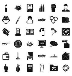 Internet war icons set simple style vector