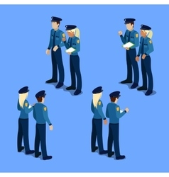 Isometric people policeman and policewoman vector