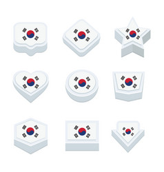 Korea south flags icons and button set nine styles vector