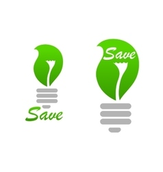 Light bulb icon with green leaf vector