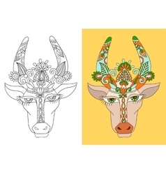 line decorative drawing of indian cow head floral vector image vector image