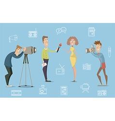 Mass media concept design of live news vector